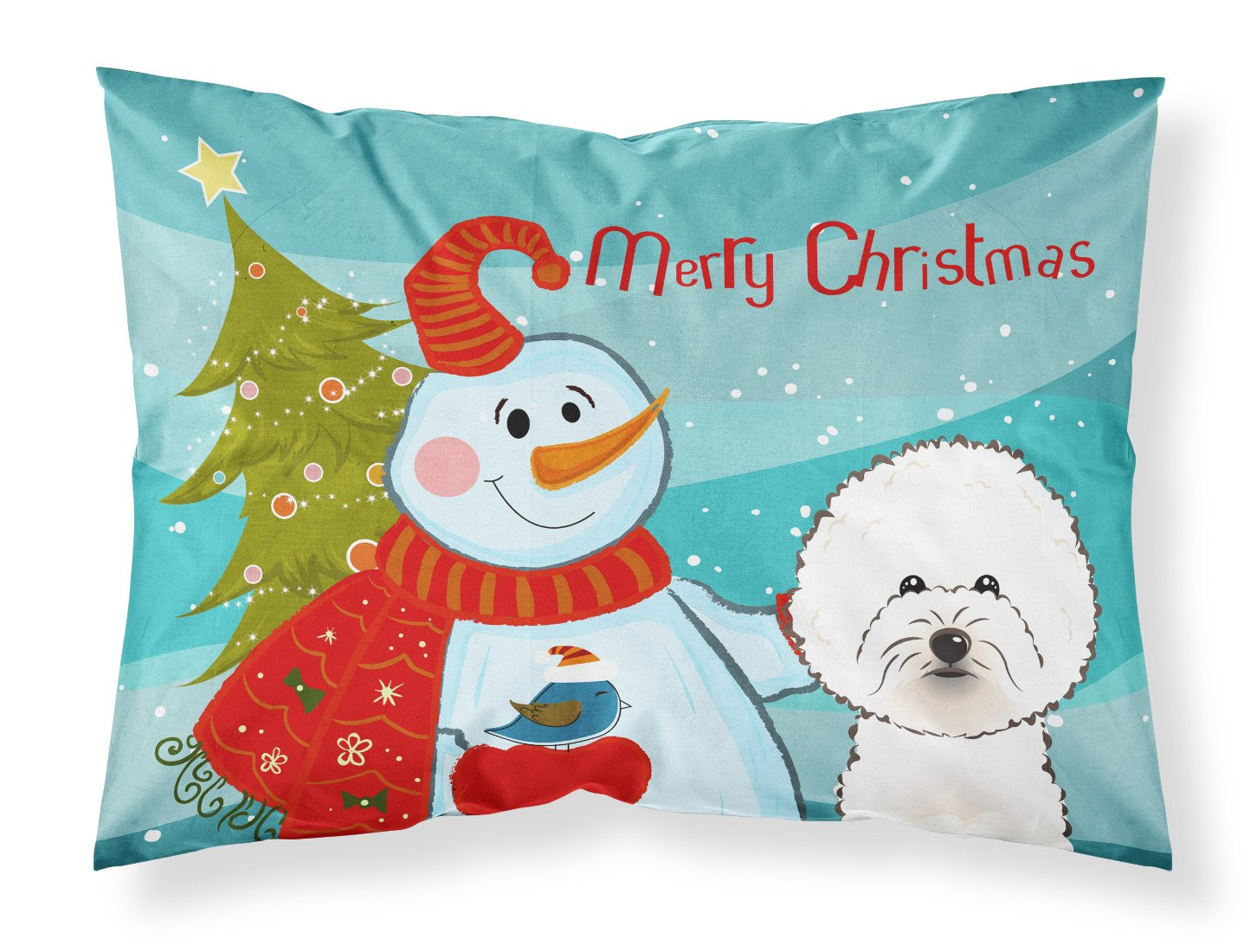 Snowman with Bichon Frise Fabric Standard Pillowcase BB1837PILLOWCASE by Caroline's Treasures