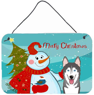 Buy this Snowman with Alaskan Malamute Wall or Door Hanging Prints BB1838DS812