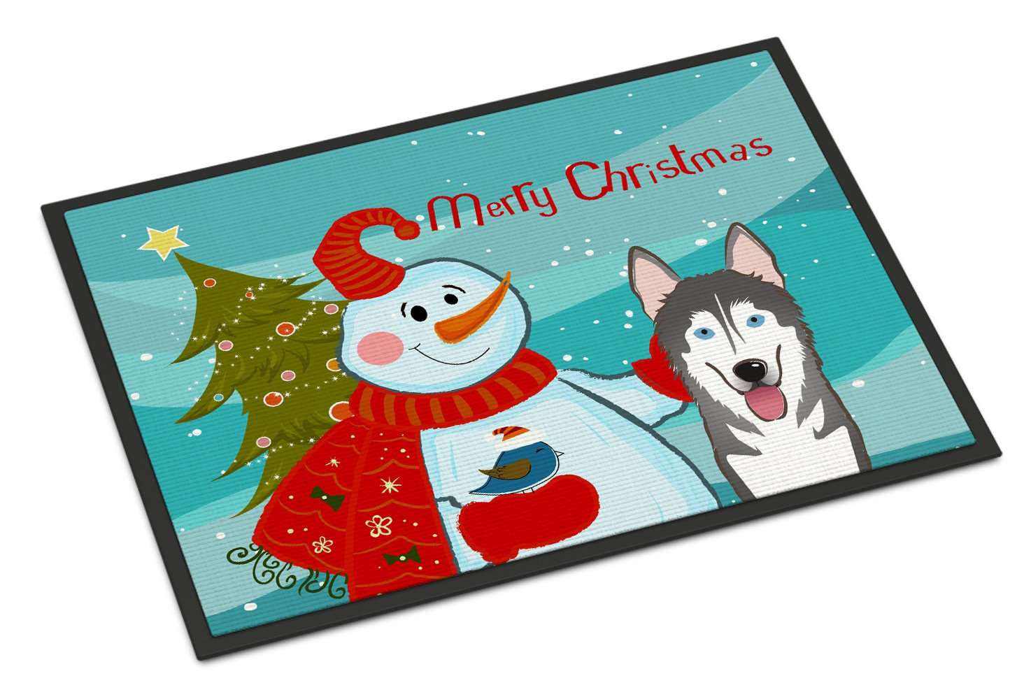 Snowman with Alaskan Malamute Indoor or Outdoor Mat 18x27 BB1838MAT by Caroline's Treasures