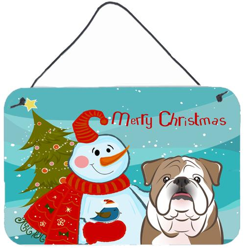 Snowman with English Bulldog  Wall or Door Hanging Prints BB1839DS812 by Caroline's Treasures