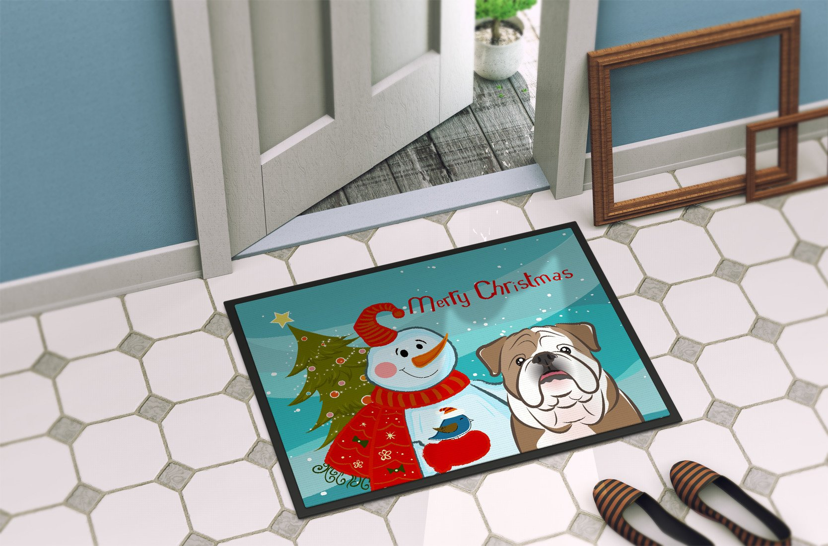 Snowman with English Bulldog  Indoor or Outdoor Mat 24x36 BB1839JMAT by Caroline's Treasures