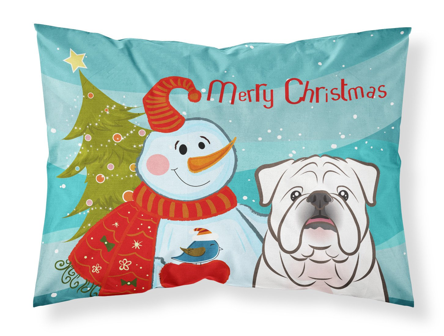 Buy this Snowman with White English Bulldog  Fabric Standard Pillowcase BB1840PILLOWCASE