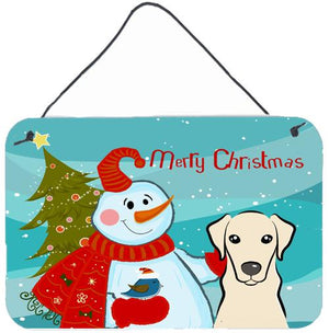 Buy this Snowman with Yellow Labrador Wall or Door Hanging Prints BB1842DS812