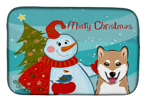 Buy this Snowman with Shiba Inu Dish Drying Mat BB1845DDM