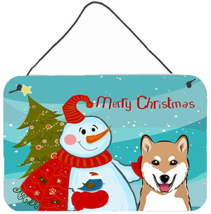 Buy this Snowman with Shiba Inu Wall or Door Hanging Prints BB1845DS812