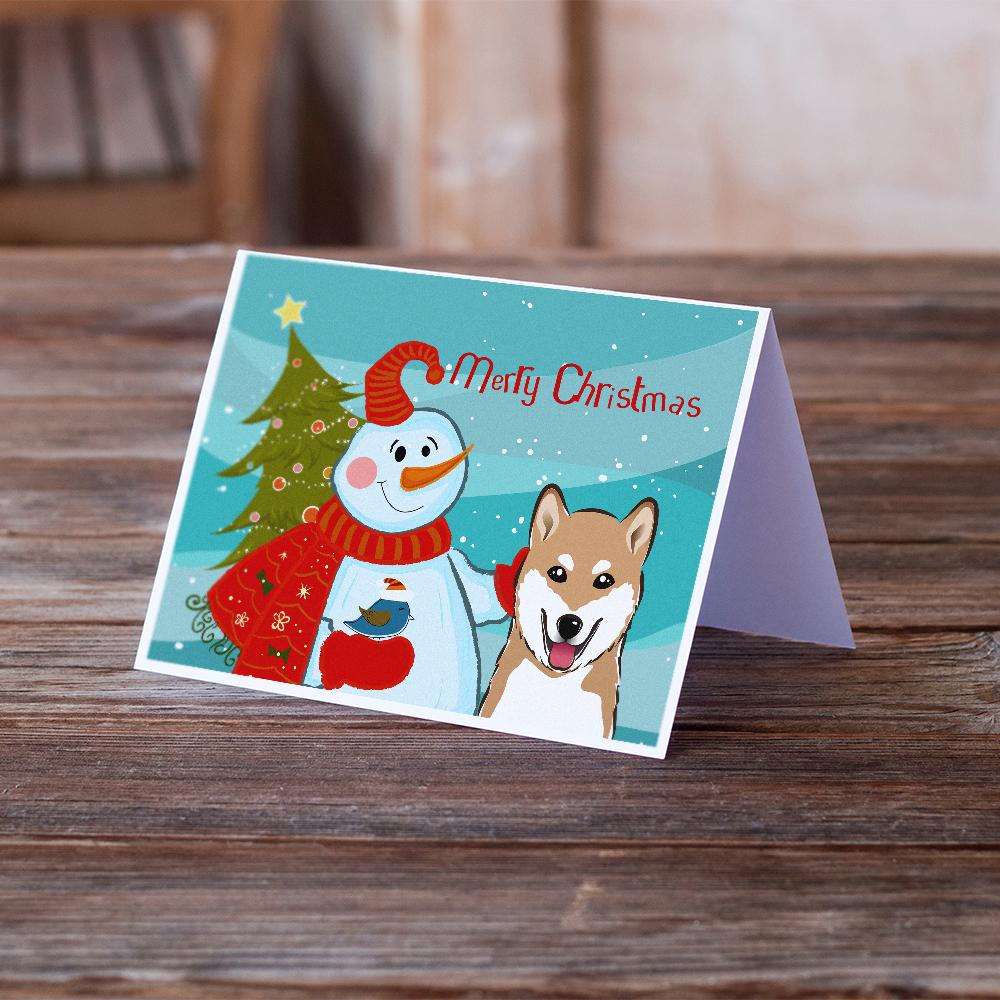 Buy this Snowman with Shiba Inu Greeting Cards and Envelopes Pack of 8