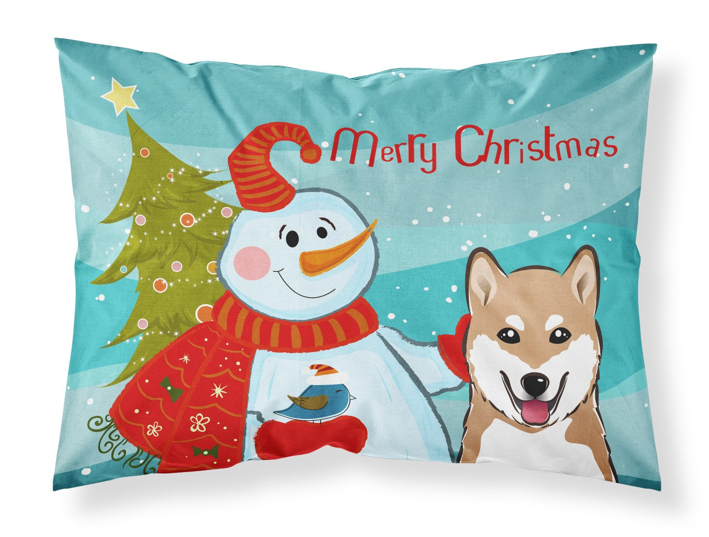 Snowman with Shiba Inu Fabric Standard Pillowcase BB1845PILLOWCASE by Caroline's Treasures