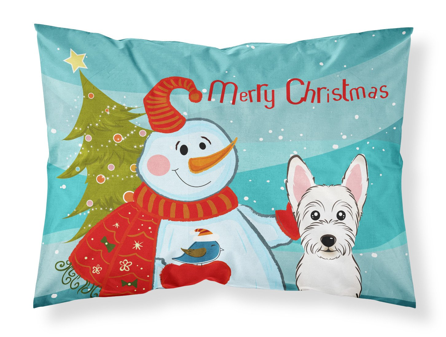 Snowman with Westie Fabric Standard Pillowcase BB1846PILLOWCASE by Caroline's Treasures