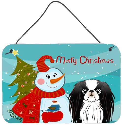 Snowman with Japanese Chin Wall or Door Hanging Prints by Caroline's Treasures