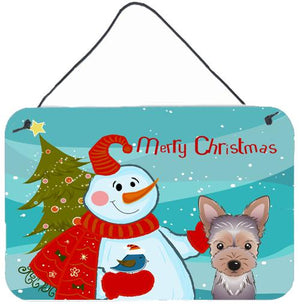 Buy this Snowman with Yorkie Puppy Wall or Door Hanging Prints BB1852DS812