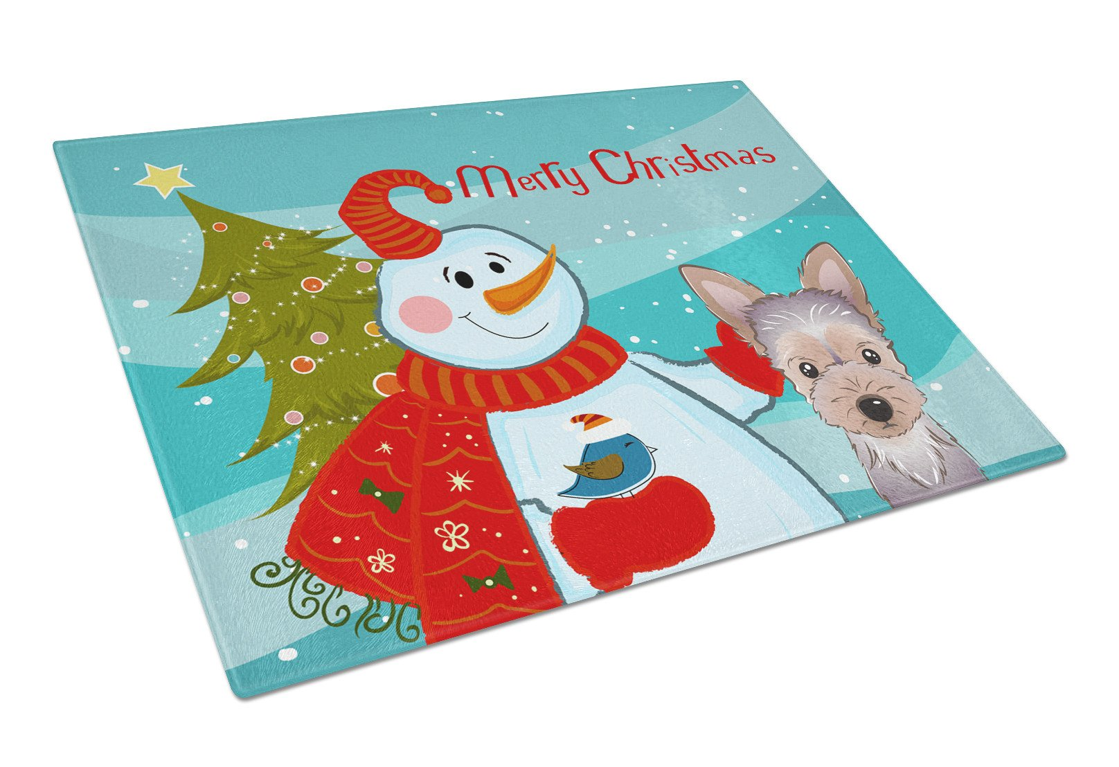 Snowman with Yorkie Puppy Glass Cutting Board Large BB1852LCB by Caroline's Treasures