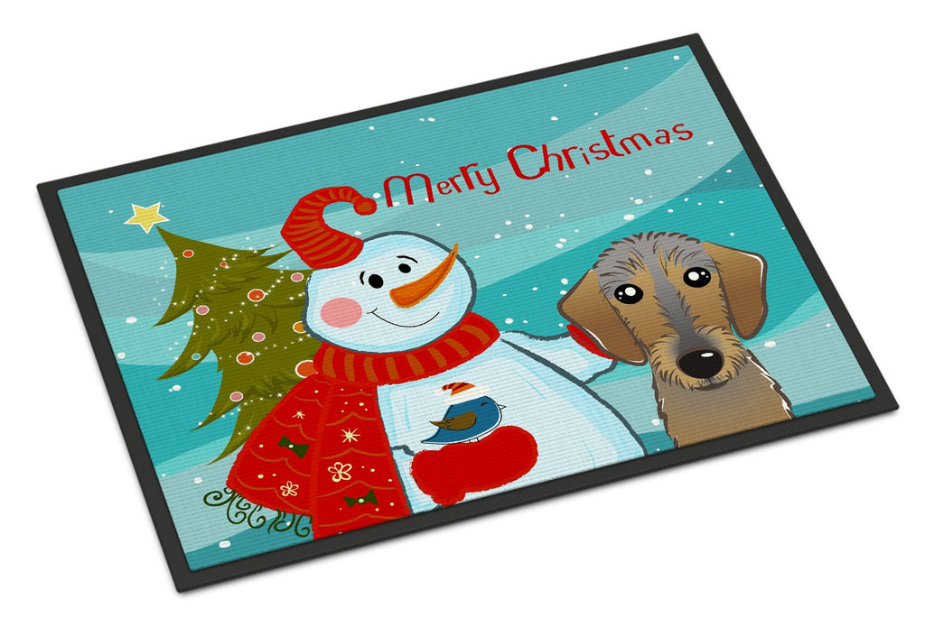 Buy this Snowman with Wirehaired Dachshund Indoor or Outdoor Mat 18x27 BB1853MAT