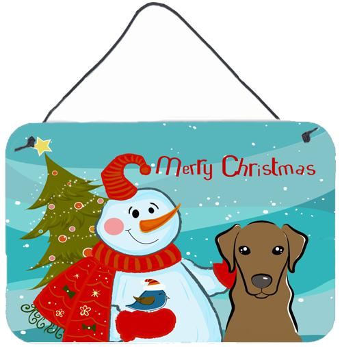 Buy this Snowman with Chocolate Labrador Wall or Door Hanging Prints BB1854DS812