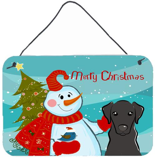 Buy this Snowman with Black Labrador Wall or Door Hanging Prints BB1855DS812
