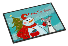 Buy this Snowman with Italian Greyhound Indoor or Outdoor Mat 24x36 BB1856JMAT