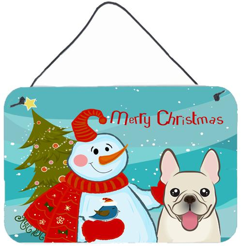 Buy this Snowman with French Bulldog Wall or Door Hanging Prints BB1858DS812