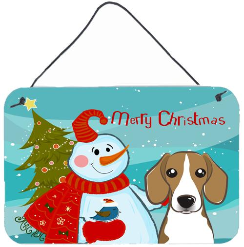 Buy this Snowman with Beagle Wall or Door Hanging Prints BB1859DS812