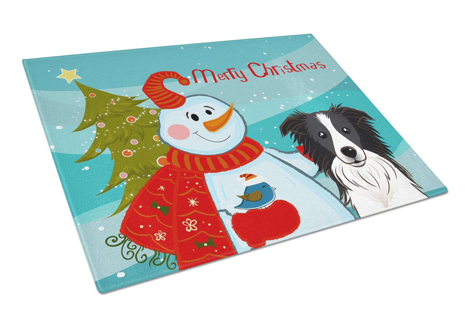 Snowman with Border Collie Glass Cutting Board Large BB1861LCB by Caroline's Treasures