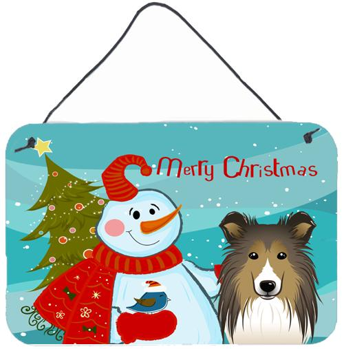 Buy this Snowman with Sheltie Wall or Door Hanging Prints BB1862DS812