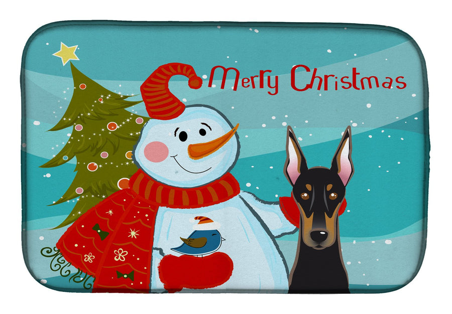 Buy this Snowman with Doberman Dish Drying Mat BB1865DDM