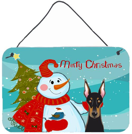 Buy this Snowman with Doberman Wall or Door Hanging Prints BB1865DS812