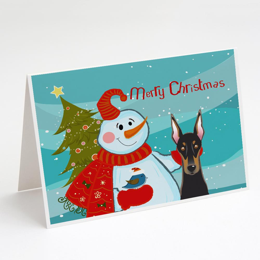 Buy this Snowman with Doberman Greeting Cards and Envelopes Pack of 8