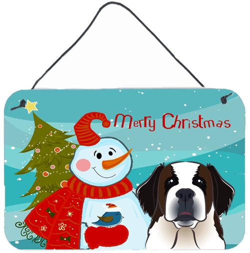 Buy this Snowman with Saint Bernard Wall or Door Hanging Prints BB1866DS812