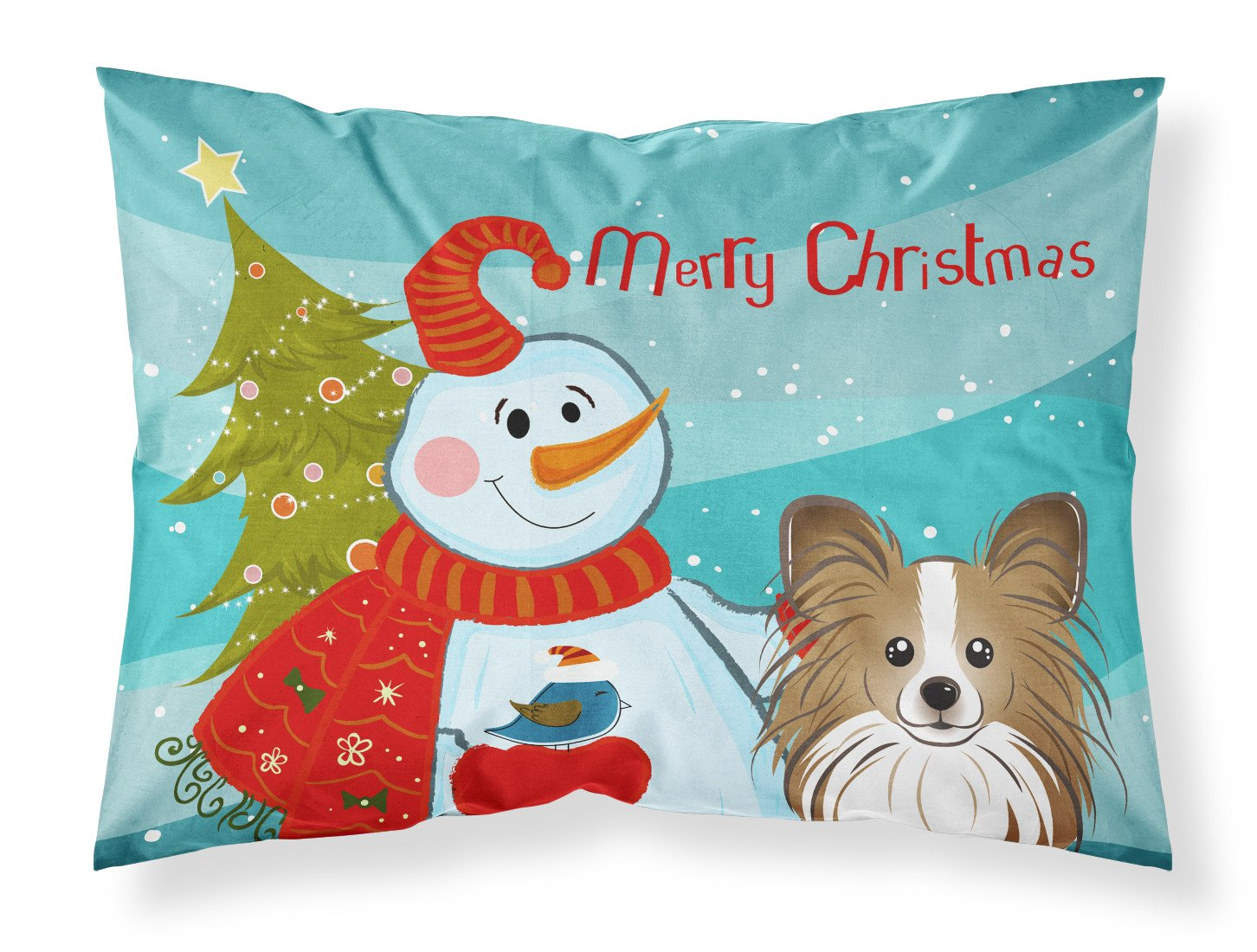 Snowman with Papillon Fabric Standard Pillowcase BB1868PILLOWCASE by Caroline's Treasures