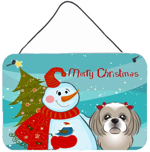 Buy this Snowman with Gray Silver Shih Tzu Wall or Door Hanging Prints BB1870DS812
