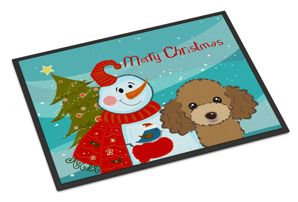 Buy this Snowman with Chocolate Brown Poodle Indoor or Outdoor Mat 18x27 BB1876MAT