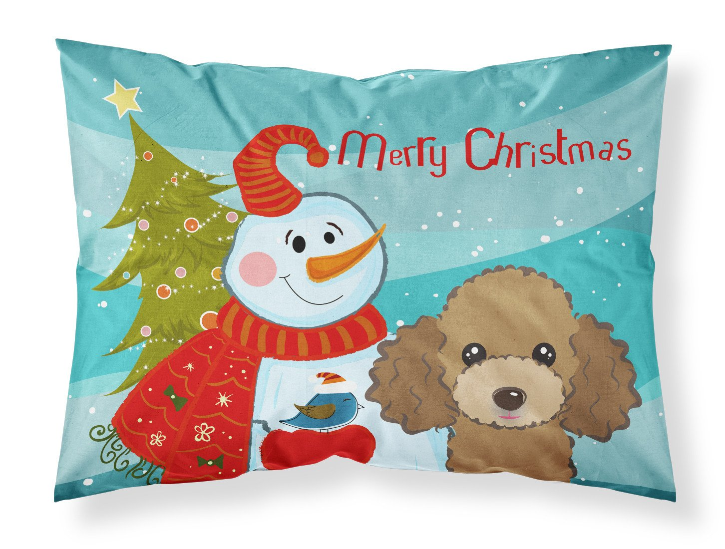 Buy this Snowman with Chocolate Brown Poodle Fabric Standard Pillowcase BB1876PILLOWCASE