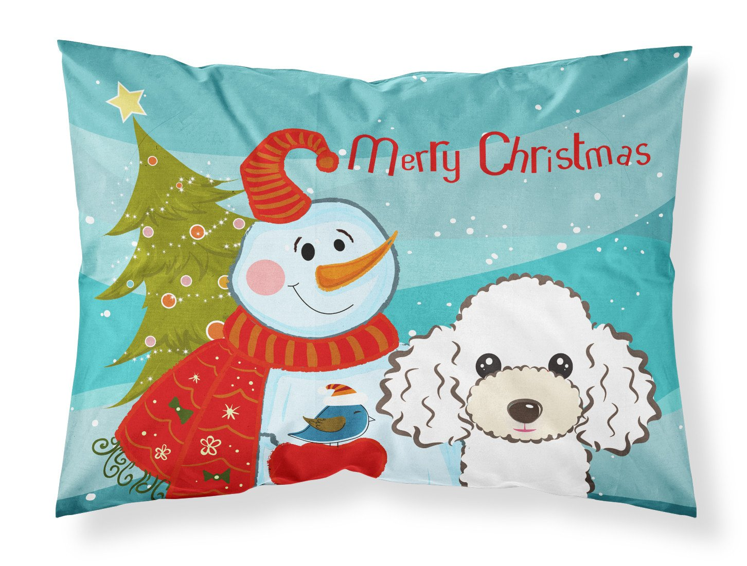 Buy this Snowman with White Poodle Fabric Standard Pillowcase BB1877PILLOWCASE
