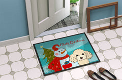 Snowman with Buff Poodle Indoor or Outdoor Mat 24x36 BB1878JMAT