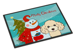Buy this Snowman with Buff Poodle Indoor or Outdoor Mat 24x36 BB1878JMAT