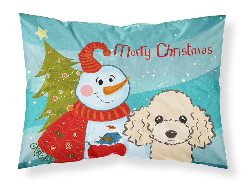 Buy this Snowman with Buff Poodle Fabric Standard Pillowcase BB1878PILLOWCASE