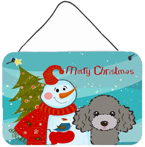 Buy this Snowman with Silver Gray Poodle Wall or Door Hanging Prints BB1879DS812
