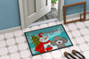 Snowman with Silver Gray Poodle Indoor or Outdoor Mat 24x36 BB1879JMAT - the-store.com