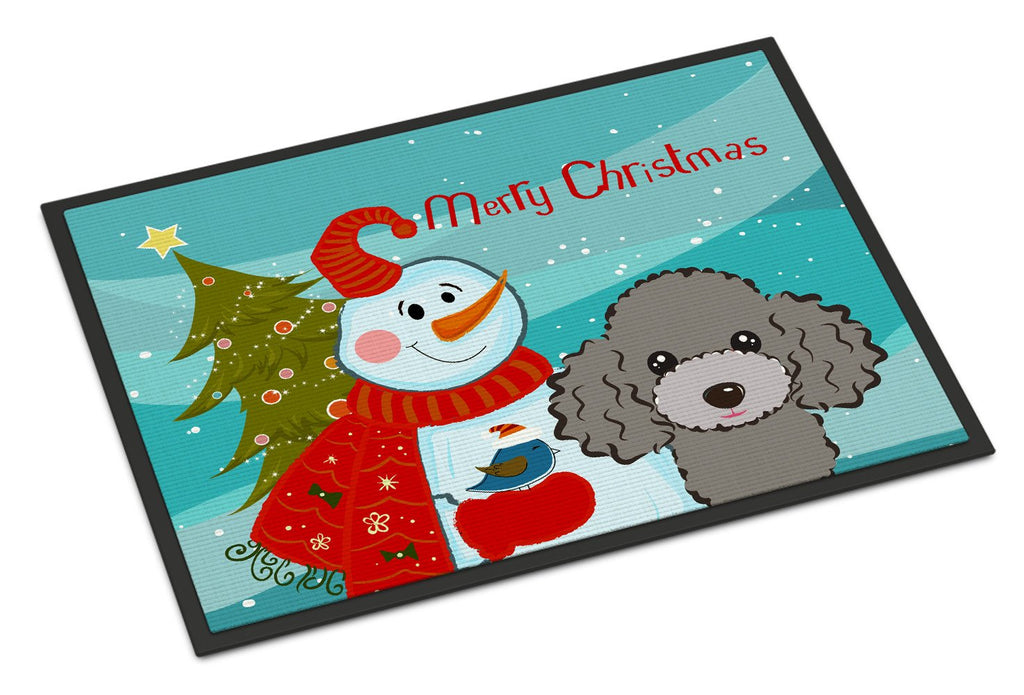 Buy this Snowman with Silver Gray Poodle Indoor or Outdoor Mat 18x27 BB1879MAT
