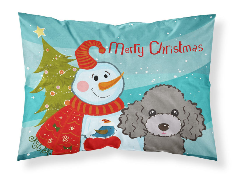 Buy this Snowman with Silver Gray Poodle Fabric Standard Pillowcase BB1879PILLOWCASE