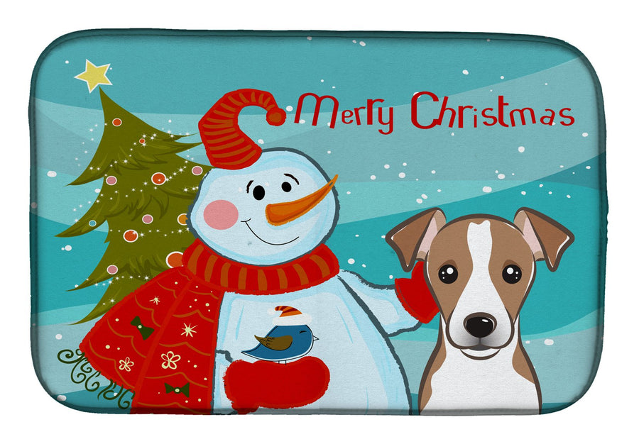 Buy this Snowman with Jack Russell Terrier Dish Drying Mat BB1880DDM