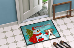Snowman with Jack Russell Terrier Indoor or Outdoor Mat 24x36 BB1880JMAT