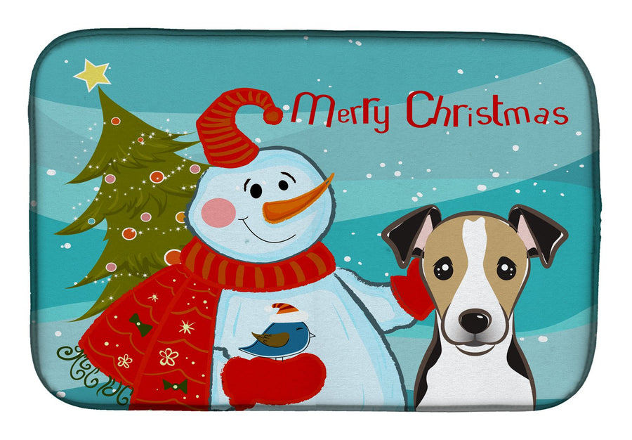 Buy this Snowman with Jack Russell Terrier Dish Drying Mat BB1881DDM