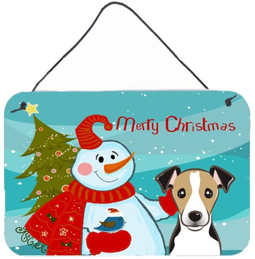Buy this Snowman with Jack Russell Terrier Wall or Door Hanging Prints BB1881DS812