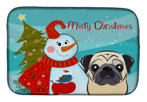 Buy this Snowman with Fawn Pug Dish Drying Mat BB1882DDM
