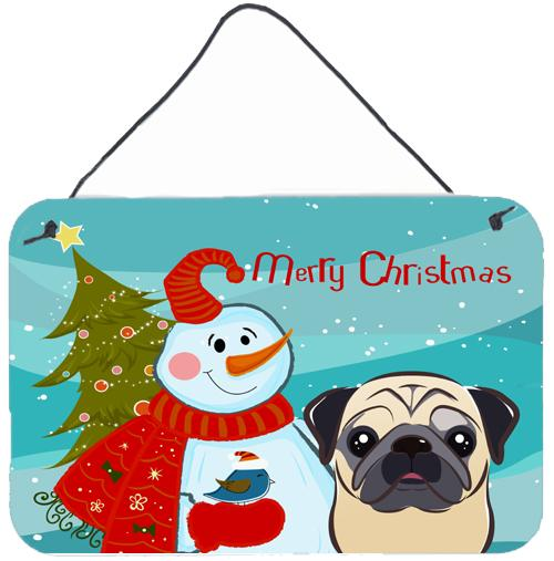 Buy this Snowman with Fawn Pug Wall or Door Hanging Prints BB1882DS812