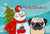Buy this Snowman with Fawn Pug Fabric Placemat BB1882PLMT
