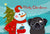 Buy this Snowman with Black Pug Fabric Placemat BB1883PLMT