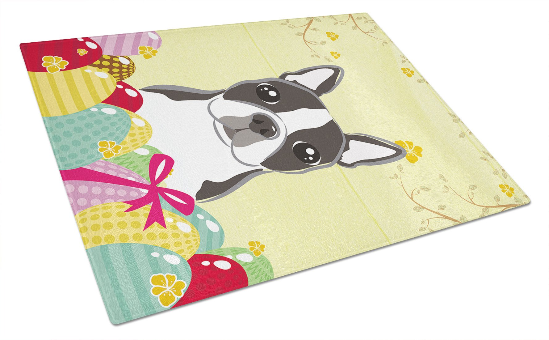 Boston Terrier Easter Egg Hunt Glass Cutting Board Large BB1885LCB by Caroline's Treasures