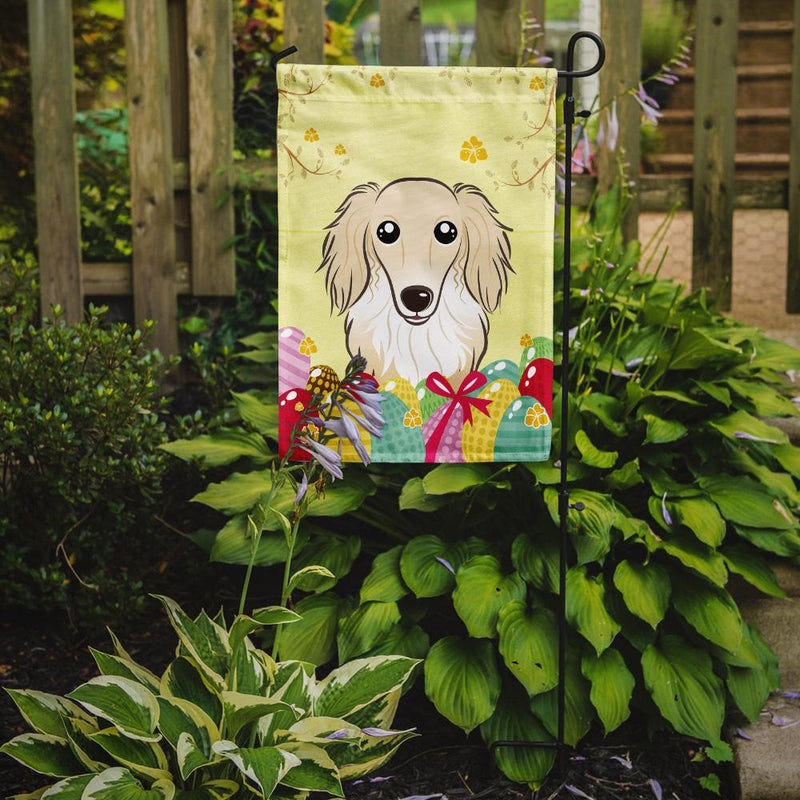 Buy this Longhair Creme Dachshund Easter Egg Hunt Flag Garden Size BB1894GF