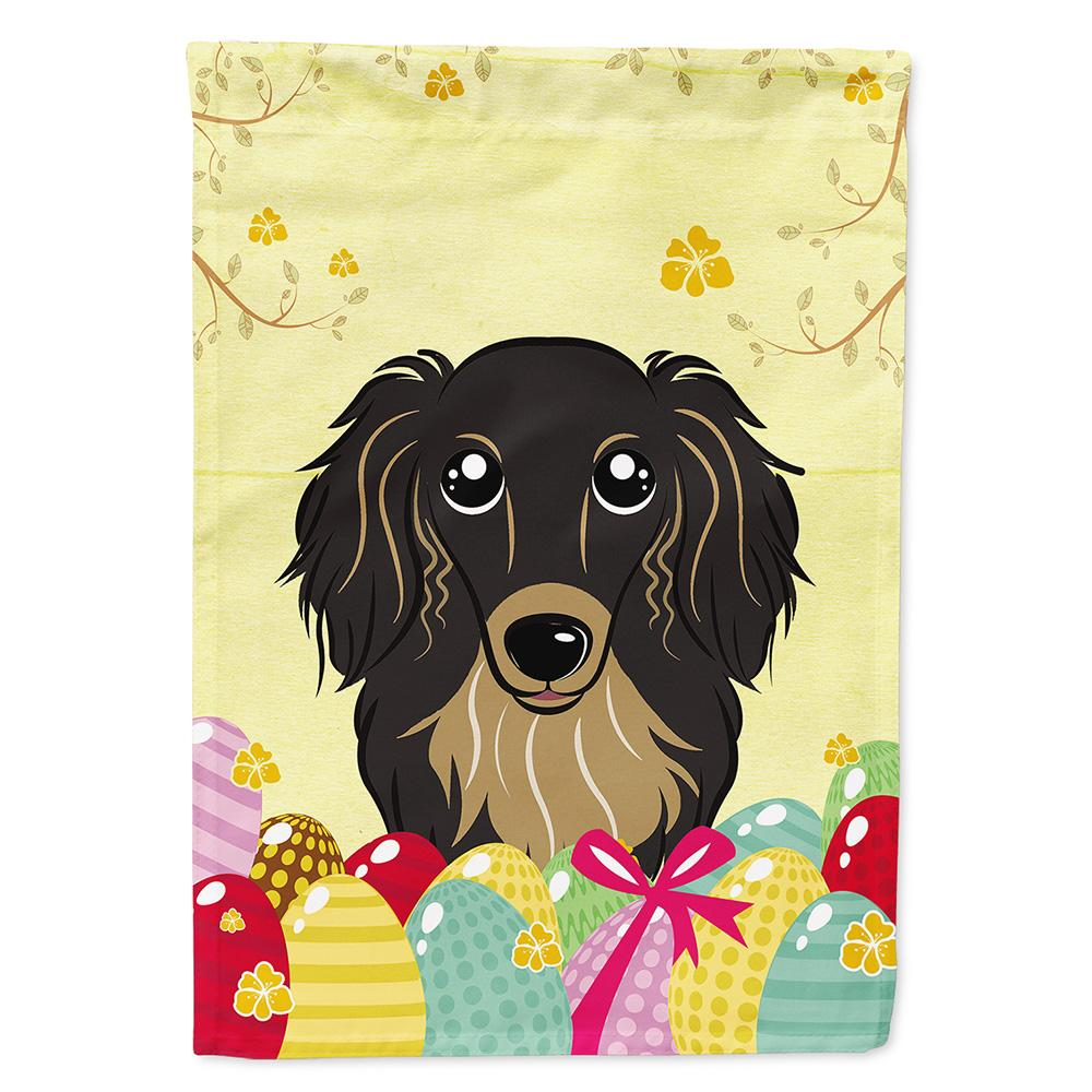 Buy this Longhair Black and Tan Dachshund Easter Egg Hunt Flag Garden Size BB1895GF